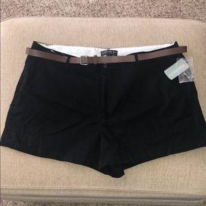 Brand New Black Shorts w/ Brown Belt